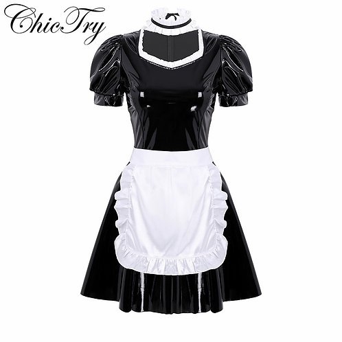 French Maid Outfit with Puff Sleeve A-Line Patent Leather