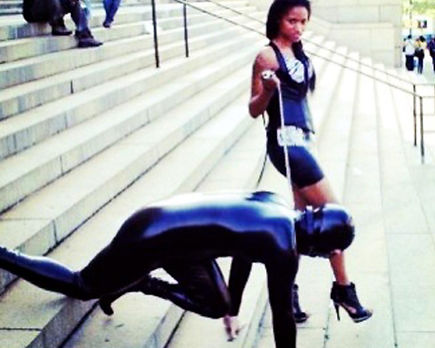 Slave training in collar and leash and public humilation
