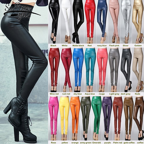 PVC Elastic Stretch Leather Pencil Pant  Skinny Tight Trouser