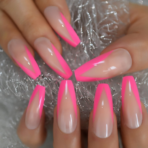Glossy Rose Pink Sissy Training  Press On Nails, Long Ballerina Coffin Style