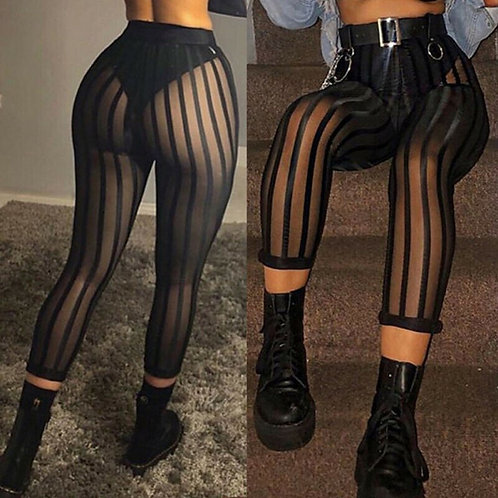 Mesh Striped Leggings Mesh Perspective Pants Knee Length Sexy Trousers
