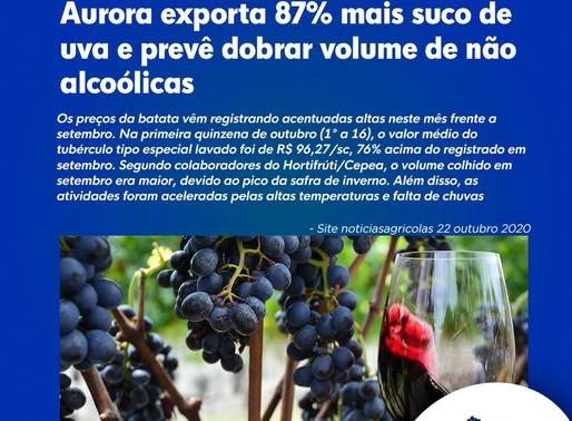 Aurora exporta 87% mais suco de uva e prevê dobrar volume de não alcoólicas