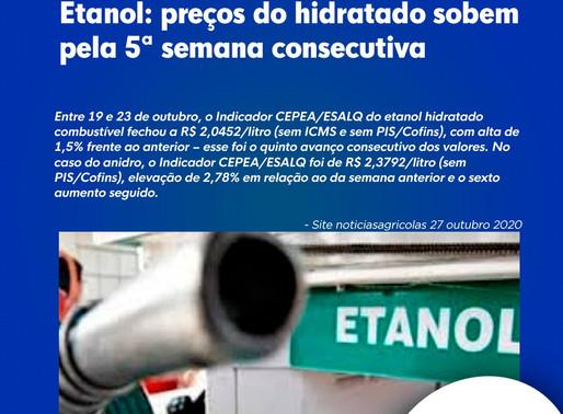 Etanol: preços do hidratado sobem pela 5ª semana consecutiva