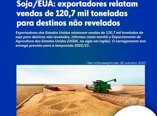 Soja/EUA: exportadores relatam vendas de 120,7 mil toneladas para destinos não revelados