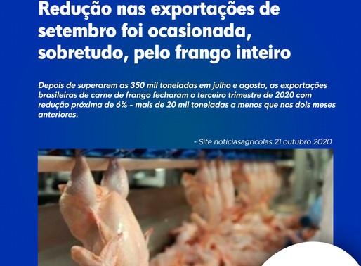 Redução nas exportações de setembro foi ocasionada, sobretudo, pelo frango inteiro