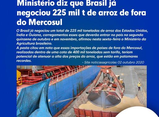 Ministério diz que Brasil já negociou 225 mil t de arroz de fora do Mercosul