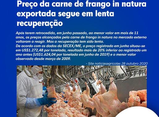 Preço da carne de frango in natura exportada segue em lenta recuperação