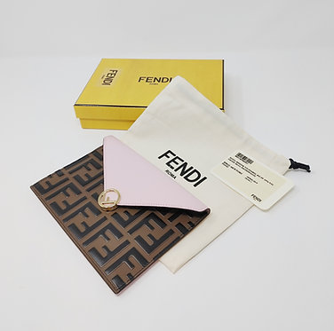 Fendi Logo Pouch with Pale Pink Leather