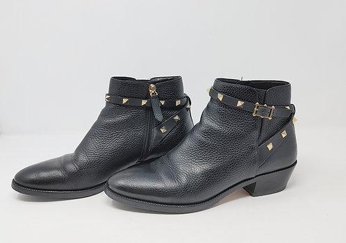 Valentino Rockstud Black Leather Boot 40