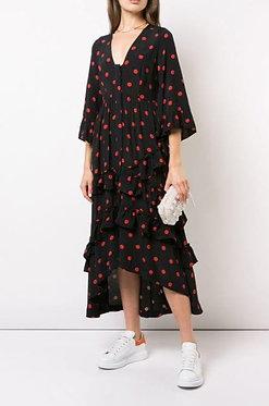 Ganni Polka Dot Ruffle Dress 42/US10