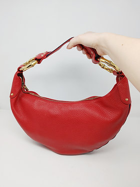 Gucci Red Pebble Leather Half Moon Hobo with Bamboo Rings