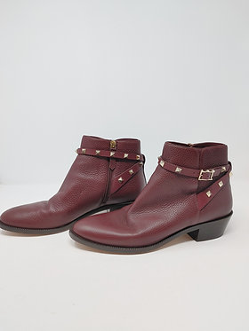 Valentino Rockstud Burgundy Leather Boots 40