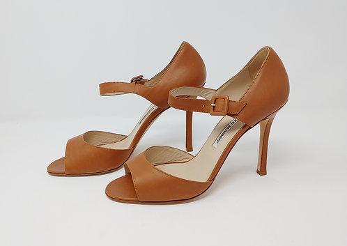 Manolo Blahnik Tan Heeled Sandal 39 1/2