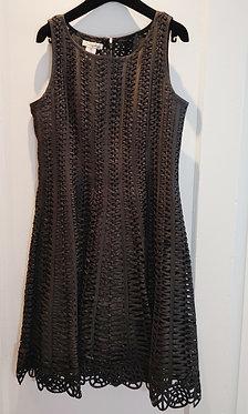 Oscar de la Renta Black Silk Woven Dress 8