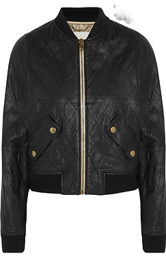 Chloe Quilted Leather Bomber Jacket 40