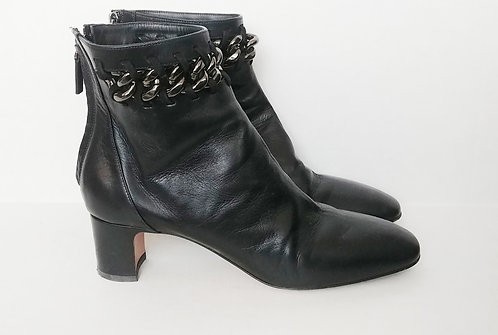 Valentino Leather Chain Heeled Boot 40