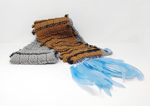Prada Knit Feather Trim Scarf