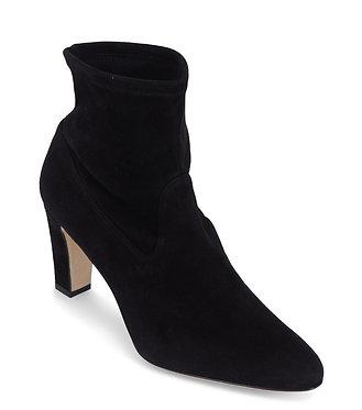 Manolo Blahnik Black Suede Heeled Sock Bootie 40 1/2