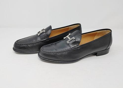 Hermes Black Leather Loafer 39 1/2