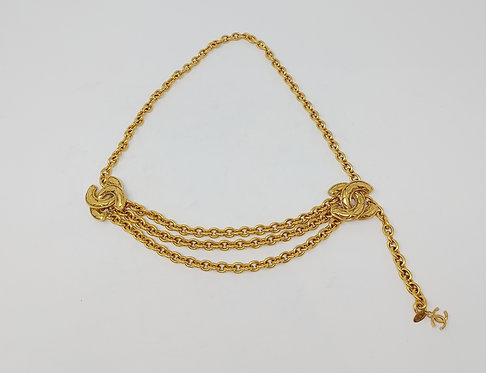 Chanel Vintage Late 80's/Early 90's Gold Tone Chain Belt