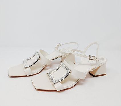 Roger Vivier White Crystal Sandal 40