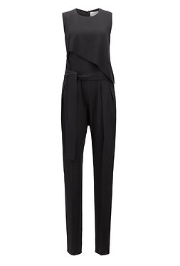 BOSS Black Sleeveless Crepe Tuxedo Style Jumpsuit Size 0
