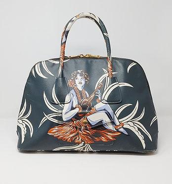 Prada Teal Hawaiian Lady Handle Bag