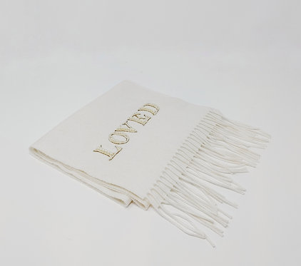 Gucci Off White Silk Cashmere Loved Scarf