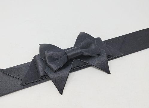 Oscar de la Renta Satin and Leather Bow Belt Medium