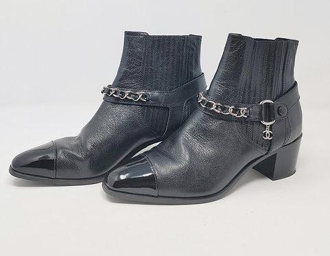 Chanel Chain Biker Boot Black 41