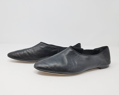 The Row Black Leather Flat 40 1/2