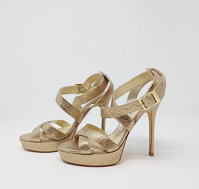 Jimmy Choo Gold Platform Heeled Sandal 37 1/2