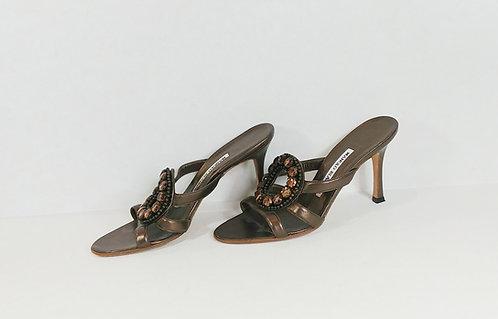 Manolo Blahnik Brown Jeweled Heeled Sandal 36 1/2