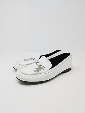 Chanel White Patent Loafer 38 1/2