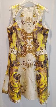 Prabal Gurung Chartreuse Rose Print Dress 10