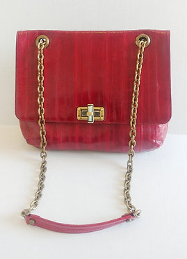 Lanvin Red Patent Chain Bag with Turn Lock