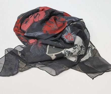 Alexander McQueen Skull/Roses Black Silk Scarf