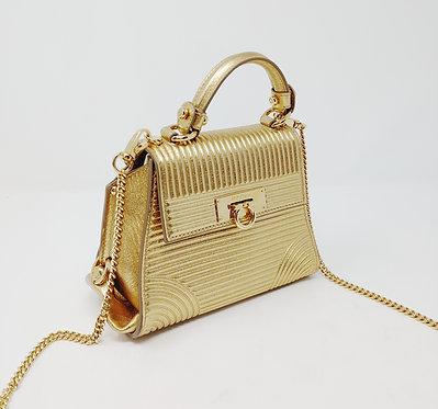 Salvatore Ferragamo Gold Stripe Embossed Sofia Mini Bag