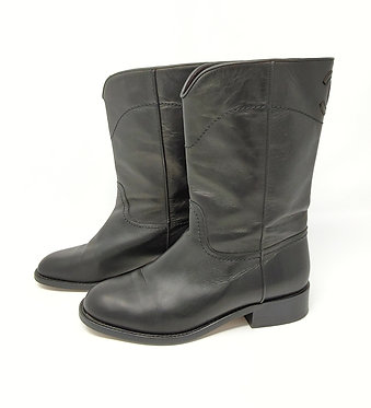Chanel Black Leather Boot 36