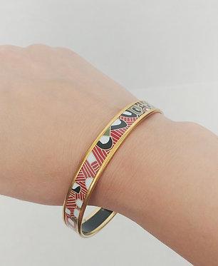 Hermes Print Thin Enamel Bracelet GM with GHW