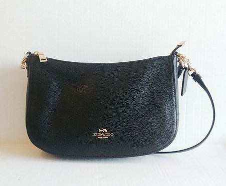 Coach Black Pebbled Leather Shoulder Bag with Crossbody Strap