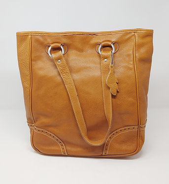 Roots Tan Leather Tote Bag