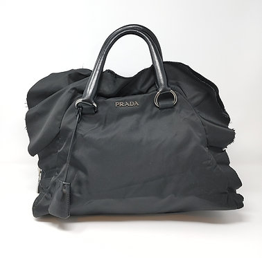 Prada Tessuto Black Nylon Ruffle Bag