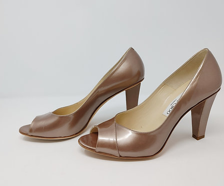Jimmy Choo Patent Metallic Camel 39 1/2