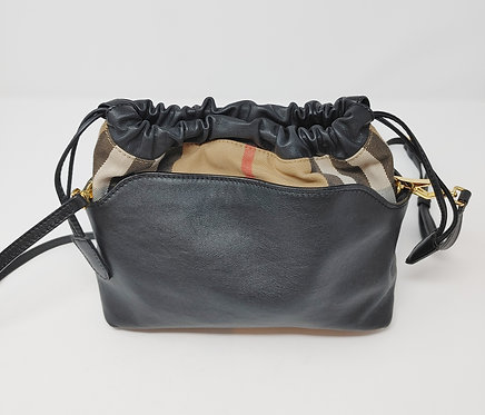 Burberry Black Leather and Canvas Check Drawstring Crossbody Bag