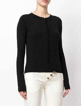 Chloe Black Wool Button Detail Knit Top Medium