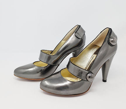 Jonathan Kelsey Pewter Mary Jane Pump 36 1/2