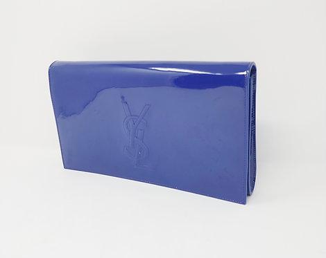 YSL Blue Patent Clutch