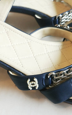 Chanel Chain Detail Navy Sandal 40