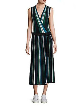 DVF Cadenza Metallic Striped Sleeveless Wrap Dress Small